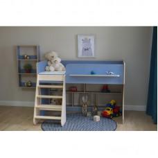 Кровать чердак Р436 Капризун 2 лен голубой
