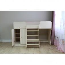 Кровать чердак Р441 Капризун 2 дуб млечный со шкафом