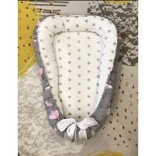 Кокон гнёздышко для новорождённого «Балеринки / серые звёздочки»