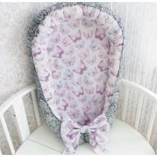 Кокон гнёздышко для новорождённого «Бабочки / серебро»