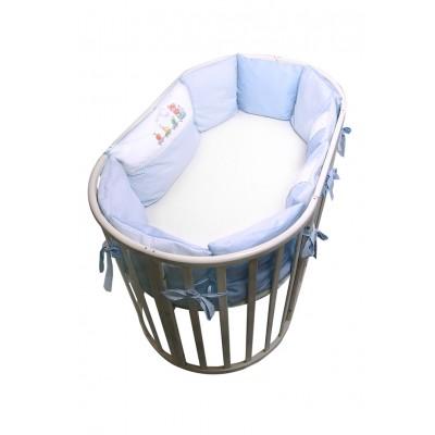 Бортики-подушки в кроватку для новорожденных Паровозик Сонный Гномик