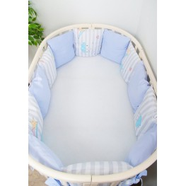 Бортики-подушки в кроватку для новорожденных Серебряная нить Сонный Гномик Голубой
