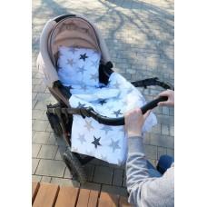 Комплект в коляску прогулочный 3 предмета Звездочки Сонный Гномик Белоснежный с рисунком
