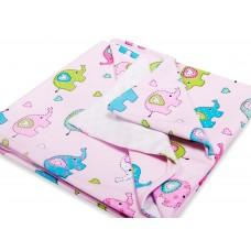 Тёплый трикотажный плед Слоники Сонный Гномик Нежно-розовый