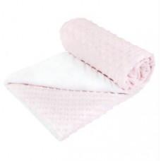 Теплый плед Горошек из плюша Minky dot Сонный Гномик Розовый