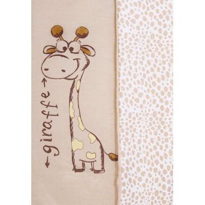 Вязаный плед Жираф для новорожденного Сонный Гномик Бежевый
