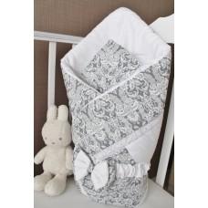 Конверт одеяло на выписку «Дамаск серебро»