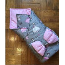 Конверт одеяло на выписку «Балеринки серый»