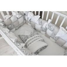 Конверт одеяло на выписку «Дамаск белый/серебро»