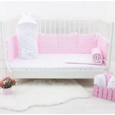 Комплект в кроватку Снежинки розовый