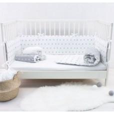 Комплект в кроватку Снежинки серый