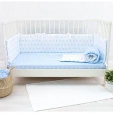 Комплект в кроватку Снежинки голубой