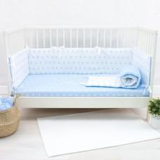 Бортики в кроватку «Снежинки голубые»