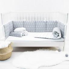 Бортики в кроватку «Снежинки серые»