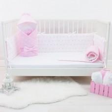 Бортики в кроватку «Снежинки Розовые»