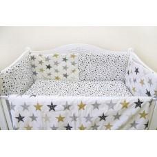 Бортики в кроватку «Звёзды и звёздочки» бежевый