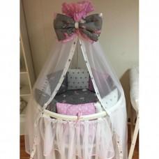 Комплект в круглую кроватку «Балерины Розовые»