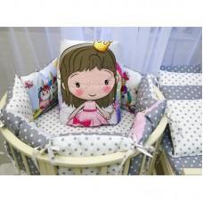 Бортики в кроватку с панелями Сатин «Принцесса единорогов»