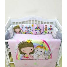 Бортики в детскую кроватку с панелями Сатин «Единорожки»