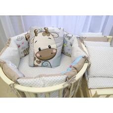 Бортики в детскую кроватку с панелями Сатин «Жираф мальчик»
