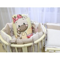 Бортики в детскую кроватку с панелями Сатин «Жираф девочка»