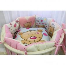 Бортики в детскую кроватку с панелями Сатин «Мишка сердечки»