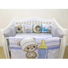 Бортики в кроватку с панелями Сатин «Мишка мальчик»