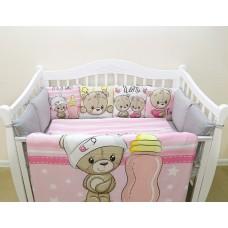 Бортики в кроватку с панелями Сатин «Мишка девочка»