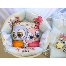 Бортики в детскую кроватку с панелями Сатин «Совушки»