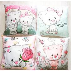 Бортики в кроватку с панелями Сатин «Котики»