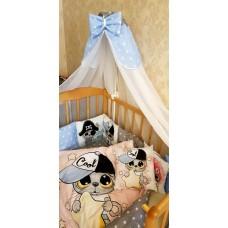 Бортики в детскую кроватку с панелями Сатин «Котята пираты»