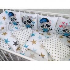 Бортики в детскую кроватку с панелями Сатин «Еноты»