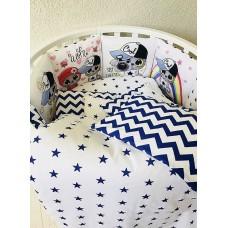 Бортики в кроватку с панелями Сатин «Котята друзья»