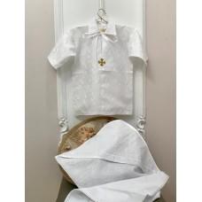 Рубашка крестильная с уголком для мальчика Jolly Baby