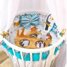 Комплект ватрушка в круглую кроватку Золотой гусь Ковчег, 6 предметов