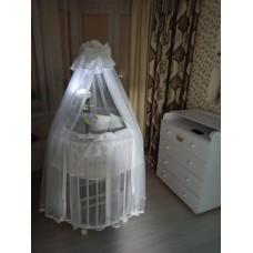 Юбка (подзор) на круглую кроватку тюль