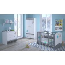 Детская комната Polini Basic Монстрики 3 предмета: кроватка детская+комод+шкаф двухсекционный