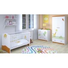 Детская комната Polini Basic Джунгли 3 предмета: кроватка+комод+шкаф 2-х секционный
