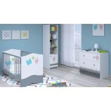 Детская комната Polini Basic Монстрики 3 предмета: кроватка детская+комод+стеллаж
