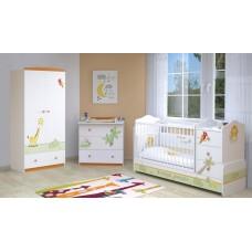 Детская комната Polini Basic Джунгли  4 предмета: кроватка-трансформер+тумба+комод+шкаф 2-х секционный