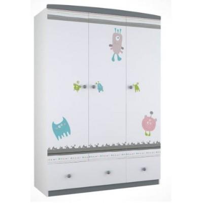 Шкаф трехсекционный Polini Basic Монстрики