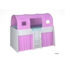 Подростковая кровать - чердак Polini Simple 4100 с тентом и шторами 190х90