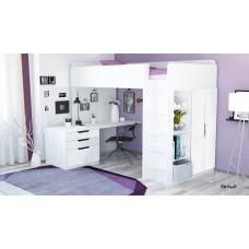 Подростковая кровать - чердак Polini Simple с письменным столом и шкафом  5 в 1 (200 х 90)