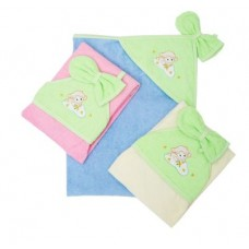 Банное махровое полотенце с капюшоном и варежкой Золотой гусь Весёлые овечки