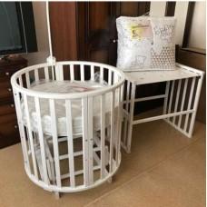 Круглая кроватка трансформер Incanto Mimi New 7в1 + матрац трансформер 3в1