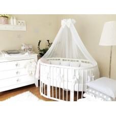 Круглая кроватка трансформер Incanto Mimi New 7в1 + матрац трансформер 3в1 + комплект 10 предметов