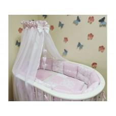 Круглая (овальная) кроватка трансформер Агат 1/5 + матрац трансформер 3в1 + комплект для девочки
