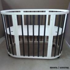 Круглая кроватка трансформер 8в1 Mika Polli 75